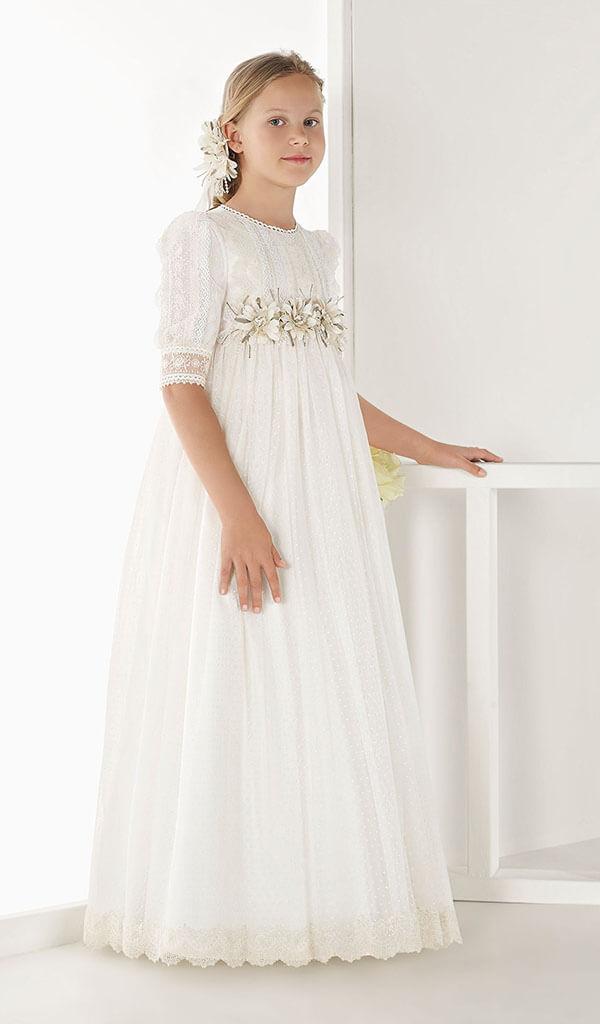 vestido de comunión corte imperio